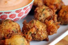 New Year's Heavenly Puffs: Crab Hush Puppies with Remoulade Sauce. Recipe by Kim Laidlaw. Photo: Wendy Goodfriend