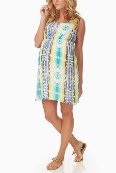 Blue Multi Colored Tribal Print Maternity Dress #maternity #fashion