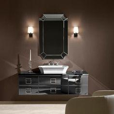Luxury bathroom with black art deco furniture