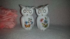 ***SOLD***$28--Vintage Owl Salt & Pepper Shakers, Porcelain Owl  Transferware Flowers Butterfly Shakers, Porcelain Shakers Gold Gilt by JunkYardBlonde on Etsy