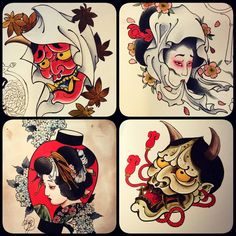 tattoos in japanese prints Japanese Mask Tattoo, Japanese Tattoo Designs, Japanese Sleeve Tattoos, Asian Tattoos, Old Tattoos, Small Tattoos, Hanya Tattoo, Geisha Art, Japan Tattoo