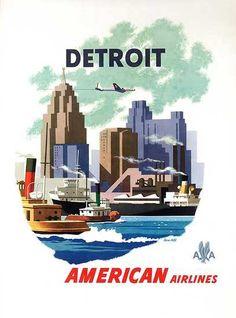 DP Vintage Posters - American Airlines Detroit Original Vintage Travel Poster