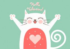 Cute Romantic Cat Greeting Card Vector Graphic — veterinarian, valentine, charming, adorable, smiling, drawing, whisker, cartoon, animal, pretty, smile, sweet, hello, funny, happy, heart, love, meow, art, day, pet