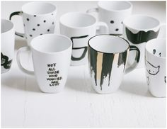 the {simplest} diy coffee mugs - skip the sharpie and use porcelain paint