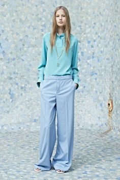 Love the color combo!! oversized baby blue #SS14  www.blueisinfashionthisyear.com