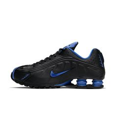 The Nike Shox offers the ultimate in responsive cushioning with 4 columns of support under the heel. Its lightweight synthetic and textile upper is soft and durable, and perforations near the toes and around the ankle enhance breathability. Nike Shox Nz, Black Nike Shox, Mens Nike Shox, Nike Shox Shoes, Sneakers Nike, Puma Tennis Shoes, Sports Shoes, Stylish Walking Shoes, Sports