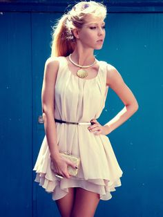 adorable flouncy cream colored dress