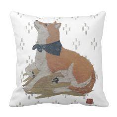 Shiba Inu, Japanese Ikat Pattern Pillow by Bless Hue. $30.95 ~ #zazzle #blesshue #shibainu #shiba #dog #dogs #japanese #ikat #pillow #giftideas #gift #cushion #homedecor #roomdecor #decor