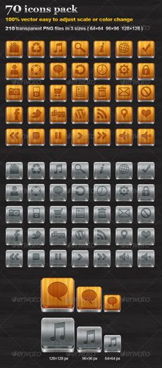 70 icons pack — Photoshop PSD #icons #twitter • Available here → https://graphicriver.net/item/70-icons-pack/474658?ref=pxcr