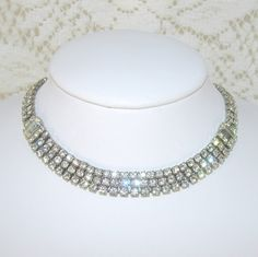 3 Row Rhinestone Choker Baguettes Wedding Prom Formal by OhFaro, $34.00