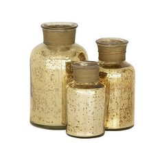 Bottles 36016: Contemporary And Modern Style Glass Gold Bottle Set Of 3 Home Decor 24126 -> BUY IT NOW ONLY: $33.25 on eBay!