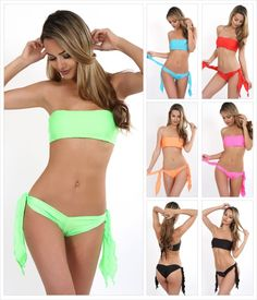 Bikini, Bandeau Top + Hotpants zum Binden