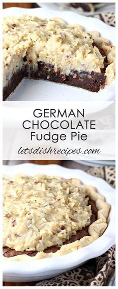 German Chocolate Fudge Pie Recipe: A rich, brownie-like pie filling is topped with a traditional German chocolate frosting in this decadent chocolate pie that's loaded with pecans and coconut. #pie #dessert #chocolate #coconut