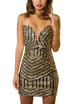 Gold Sequin Strapless Mini Dress
