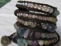 Fluorite, Hand Cut Citrine, Rose Quartz, Graduated, In Different Shapes And Sizes. Silver Accents And Silver Filigree Button. Brown Leather. Photo:  This...