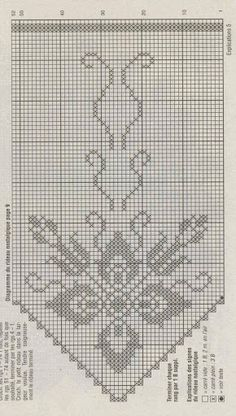 Crochet and arts: Curtains Filet Crochet Charts, Crochet Diagram, Crochet Stitches Patterns, Hand Embroidery Patterns, Cross Stitch Patterns, Crochet Art, Thread Crochet, Crochet Motif, Crochet Doilies
