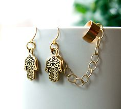 ON SALE Hamsa Hand Ear Cuff Earrings