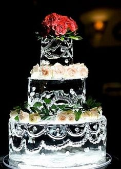 ICE WEDDING CAKE! Would be cool if you wanted to do cupcakes or mini cheesecakes, but have a statement cake made out of ice.