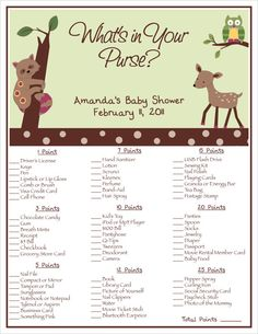 Printable Enchanted Forest Baby Shower What's In by BDesigns4You, $8.00