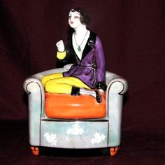 Noritake china art deco Lady on a Chair lustreware trinket box   eBay