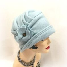 Flapper Style Cloche - Warm Winter Hats - Alice Cloche Hat - Downton Style Hats - Fleece Hats The beautiful Alice this time show here handmade in a duck egg blue color fleece. Rich, warm and comfortin
