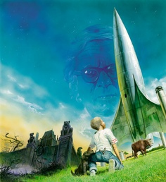 Almost anything by Ray Bradbury with his style of hometown-gothic-sf, nicely caught in this painting by Oliver Frey.