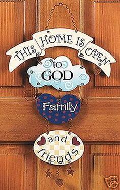Country Folk Art Home Open to God Family Friends Wood Door Hanger Decor