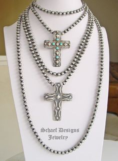 Schaef Designs 8mm oxidized sterling silver navajo pearl long necklaces   Vintage Revival Jewelry Collection   Native American Charms  upscale artisan handcrafted Native American, Southwestern, Turquoise jewelry   Schaef Designs   New Mexico