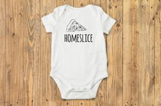 Boho baby boy (or girl) bodysuit with adorable hipster pizza drawing and HOMESLICE written across the front. This funny baby graphic print Onesie®
