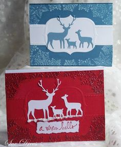 Memory Box Die Card Ideas | Both of these cards were made from a new Snowflake border embossing ...