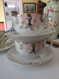 Rising Sun Nippon Eggshell Porcelain, Two Handpainted Azalea Cups and Saucers