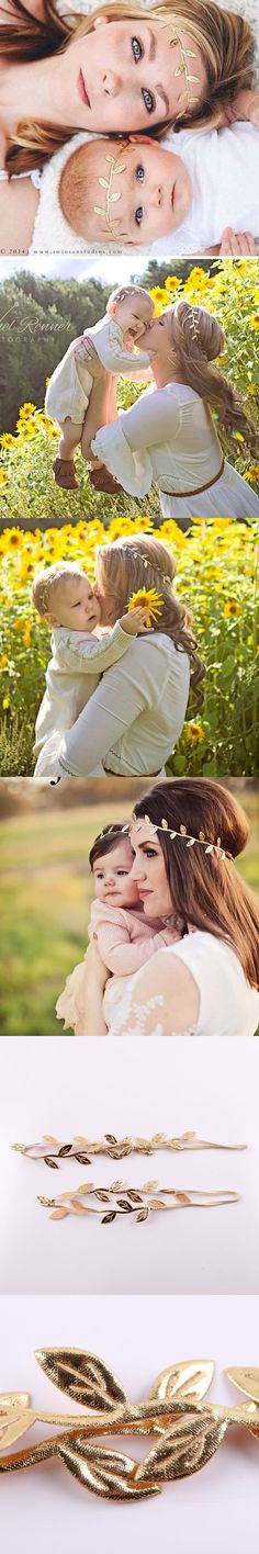 New Mommy and Me Gold Leaf Headband Set for Hair Fashion Boho Headband Baby Girl Leaf Headband 1 SET $1.83