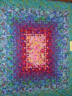 "Outstanding ""B9P"" (blooming nine patch) with Kaffe Fassett fabrics"