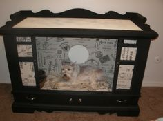 French inspired Diva Dog Bed upcycled from old TV console. Got the idea here on Pinterest!