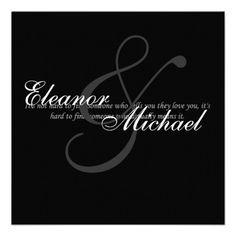 Black and white elegant wedding invitation