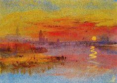 Joseph Mallord William Turner, Crepúsculo en una ciudad a orillas de un río, 1833. Acuarela y aguada sobre papel azul. 13.4 x 18.9 cm. The Tate Gallery. Londres.