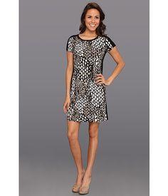d789ebd6b9 Calvin Klein T-Shirt Dress W  Blocking Black Eggshell Multi - Zappos.