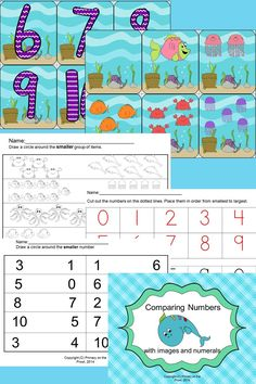 $ This fun and engaging undersea theme will have kids comparing numbers in no time!  This resource includes cards with objects and cards with numerals.  After mastering the skill of comparing numbers with the cards, students can practice the skill independently with one of the multiple practice sheets.