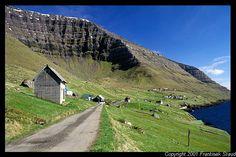 Kunoy village under the cliffs of Kunoy, Faroe Islands