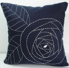 like the flower for a mug rug/Sukan / Rose Flowers Navy Blue Linen Pillow Cover - 16x16 inch