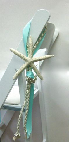 Ours will have navy/coral ribbon! Beach Wedding Chair Decoration  14 RIBBON par SeashellCollection, $15,00