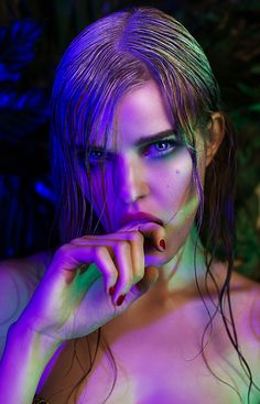 Tropic Fever by Marta Voodica Ciosek #face #hand #finger #mouth #colourful #purple #green #neon #light