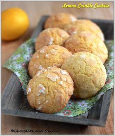 Zitronenkekse Crinkle Cookies, Brownie Cookies, Cookie Recipes, Brownies, Hamburger, Muffins, Lemon, Vegetarian, Bread