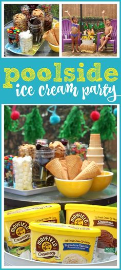 Poolside Ice Cream Party Ideas + How to Slow Summer Down – Raising Whasians (AD) Celebrate the simple summer joys with this easy Poolside Ice Cream Party. It's one way we're slowing down summer with Mayfield Creamery Ice Cream memories Sommer Pool Party, Pool Party Kids, Diy Craft Projects, Kids Crafts, Craft Ideas, Easy Party Food, Summer Birthday, Ice Cream Party, Summer Parties