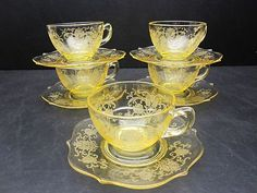 Lancaster Glass Yellow Depression Patrick Cups Saucers