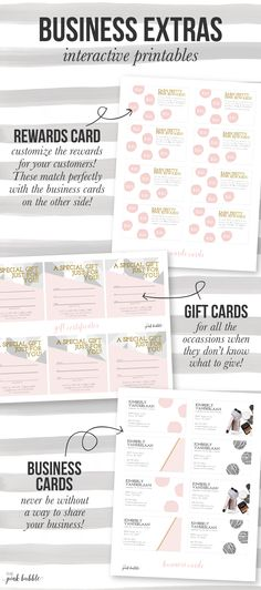 Customizable Mary Kay Business Extras! Including rewards cards, gift cards, and business cards! Find them only at www.thepinkbubble.co!!