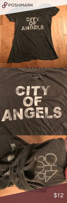 City of Angels Chaser Tee Destroyed Chaser tee with City of Angels on Front. Holes throughout. Super soft! Chaser Tops Tees - Short Sleeve