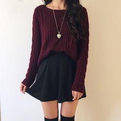 maroon sweater, heart necklace, black skirt, black knee-high socks, ootd, (@kimmystylexo) (1,700th pin!!)