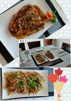 Chicken pad thai & thai pan fried fish with mango tamarind sauce