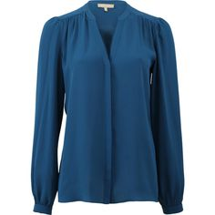 Michael Kors Slit Neck Blouse (5.525 HRK) ❤ liked on Polyvore featuring tops, blouses, blue top, long blouses, loose tops, blue blouse and peacock blouse
